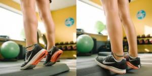 Fortalecimiento de tobillos. Controlando la bajada del talón realizamos un excéntrico que fortalece el tendón de Aquiles. Si mantenemos la bajada aprovechamos el estiramiento de tríceps sura